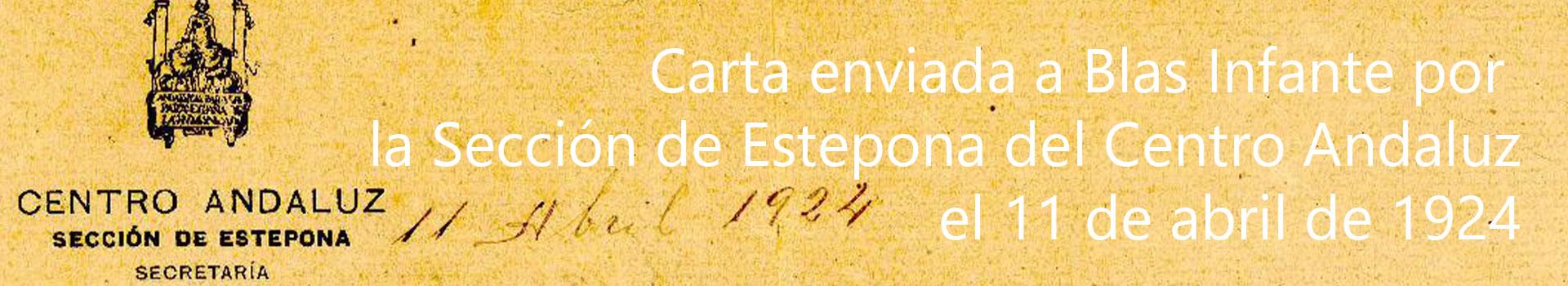 Los manuscritos de Blas Infante: Carta enviada por la Sección de Estepona del Centro Andaluz